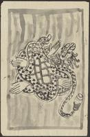 (a) Empas, a tortoise with a snake coiled around its feet; (b) Karang rangda, an ornament with the head of the widow (rangda) of Jirah
