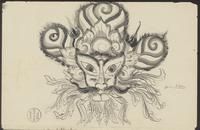 (a) Karang bujing, a rock ornament in the shape of the head of an owl; (b) Karang saé from Klungkung, a rock ornament in the shape of a Chinese lion with leafy branches in its mouth