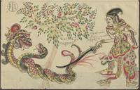 (a) Juarsa cuts the tail of a snake and wounds a second snake; (b) Nagagini speaks to her father Antaboga