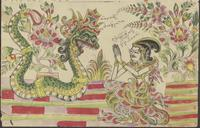 (a) Juarsa kneels in front of the snake Antaboga; (b) Juarsa weeps at the sight of a drawing illustrating events from his life