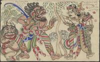 (a) Kuda Angling Baya is about to fight the red demon (buta Abang). The demon's servant watches; (b) The green demon (buta Ijo) of the Bagendra garden chases Semar and Turas