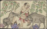(a) A man holding a pig is bitten by a boar; (b) Two men carry a swine hanging on a pole; the swine bites one of the men