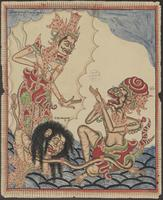 Bali has defeated Rawana and kneels in front of the god Brahma who lectures him