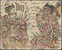 Arjuna shoots arrows into the mouth of Détya Astra. Arjuna is surrounded by his folk. Dead men lie on the ground