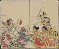 Anoman, sent as an envoy to Langka, meets Sita. He offers her Rama's ring as a token of confidence. Trijata, Sita's royal servant, watches. Two lower ranking female servants sit in the centre. The one in front is called Madé Lényog. Mredah, Anoman's ...
