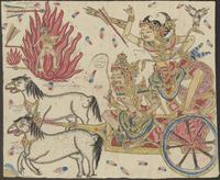 Arjuna shoots from his chariot which is driven by Kresna. The chariot is drawn by the horses Sénya and Ibrapuspa